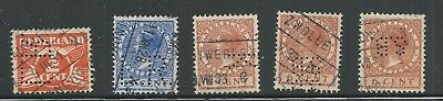 Netherlands -  5 perfin stamps - 4 different patterns all used