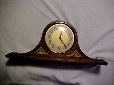Vintage (1930s) Plymouth Wood Camelback electric Mantle Clock  (Works)