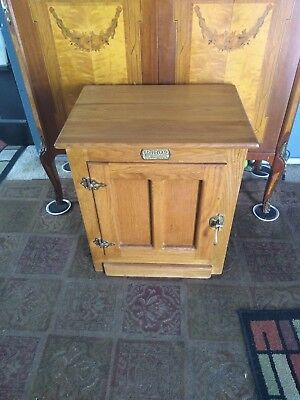 White Clad Ice Box Cabinet End Side Table Oak Brass Hardware