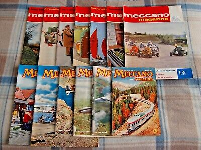 Vintage Collectable Meccano Magazines x13 -Various Issues from 1964, 1957, 1953