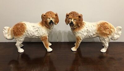 Pair of Antique Staffordshire Pottery Standing Dog Figures Fireside Mantel