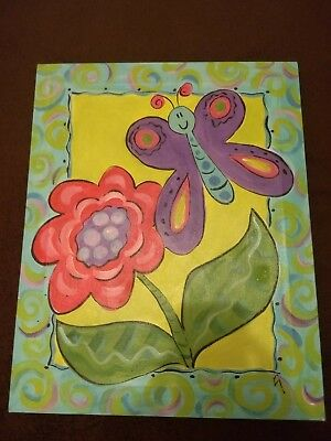 3 butterfly canvas paintings wall decor for little girl, baby room, child's room