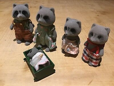 Vintage 80s Sylvanian Families Racoon Family