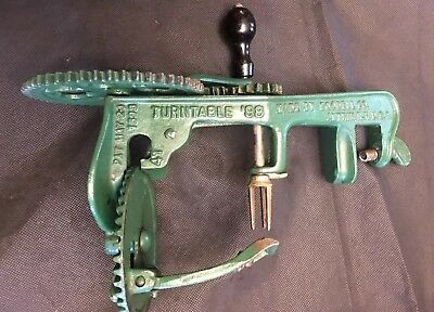 Antique Apple Peeler Cast Iron Hand Crank Goodell Co. Turntable 98