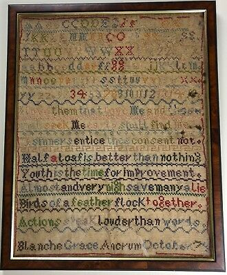 Antique Sampler. Lots of Proverbs.Blanche Grace Ancrum