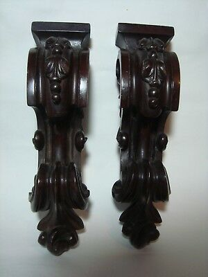 A Pair Of Ornate Carved Mahogany Brackets, Mounts.