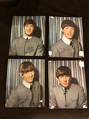 Vintage Beatles Usa Set 1964 Photos Heavy Paper *all 4 Scarce! .99 Start!