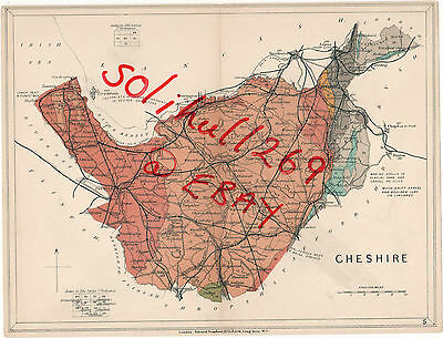 Antique 1919 Stanford Geological Map Cheshire Vintage