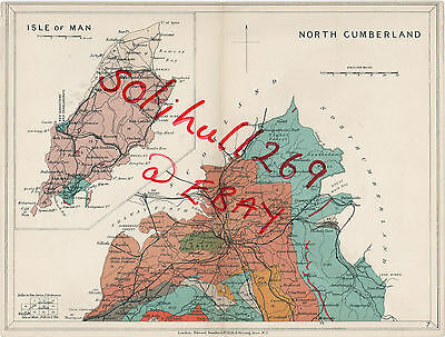 Antique 1919 Stanford Geological Map North Cumberland & Isle Of Man Vintage