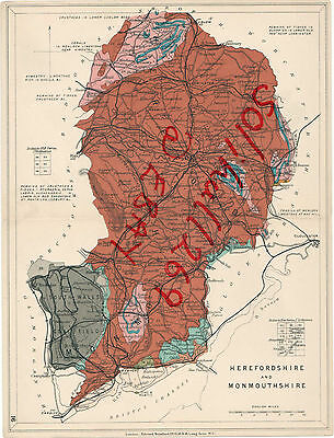 Antique 1919 Stanford Geological Map Herefordshire Monmouthshire Vintage