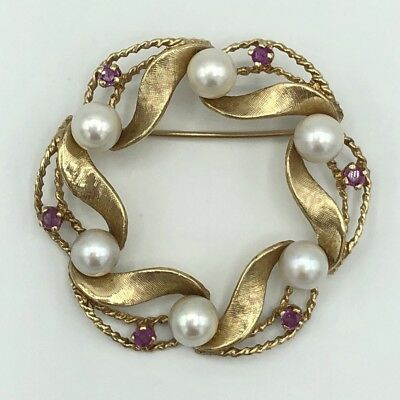 Vintage Brooch 14K Yellow Gold Cultured Pearls Ruby Open Circle Pin10g