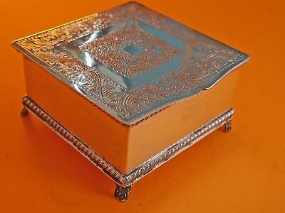 Vintage Silver Plated on Copper Footed Cigarette / Trinket Box Made in Sheffield