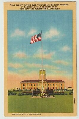 Unused Postcard Old Glory Worlds Largest Airport Barksdale Field Shreveport LA
