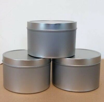 3 X Aluminium Tins, 400ml,  Perfect For Candles, Confectionary  D 9.5cm H 6.3cm