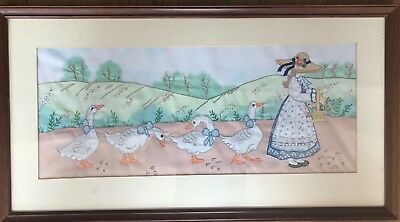 Needlework / tapestry/ embroidered framed picture.  DUCKS & CHILD
