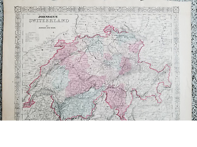 Switzerland Vintage Map Johnson 1866 Original