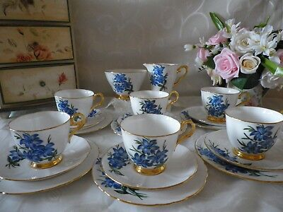 Vintage Tuscan 20 Piece Tea Set, Hand Painted,blue & Gold, Very Good Condition