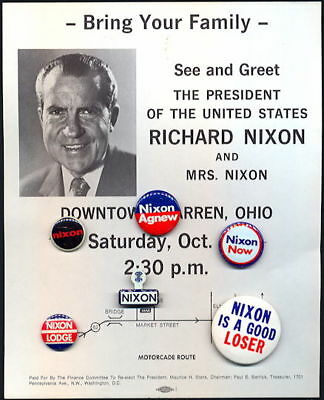 6 Vintage Original PRESIDENT RICHARD M. NIXON 1972 Pinback Pins on Flyer NOS