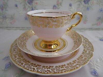 Lovely Vintage Gold & Pink Trio, Very good vintage condition,