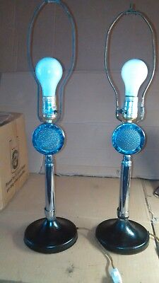 Pair Of Mid Century Modern Chrome Lollipop Microphone Conversation Table Lamp