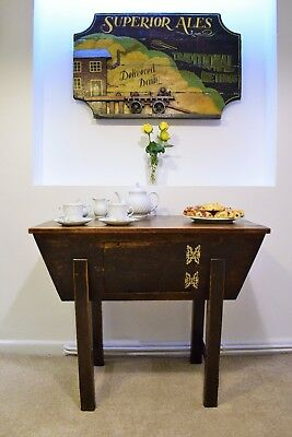 Antique Elm Table with hinged storage bin.