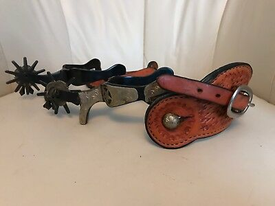 Western Cowboy Spurs With Leather Buckle Straps, Cowboy Action, SASS. Sterling?