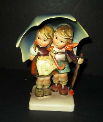 "Vintage Goebel HUMMEL STORMY WEATHER figurine boy girl umbrella #71  6"" tall"