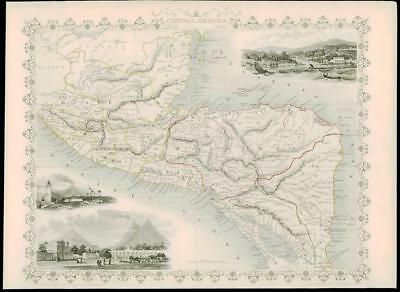 "1850 Original Antique Map - ""CENTRAL AMERICA"" BELIZE HONDURAS GUATEMALA (dw16)"