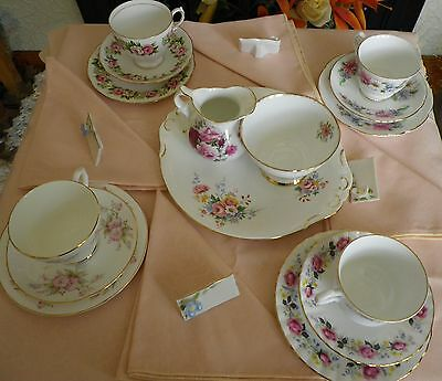 Lovely Vintage mismatched table setting for 4, with Table Linen & Place Settings