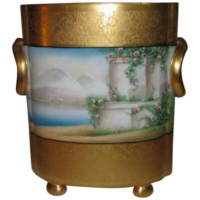 Osborne Chicago Studio Cache Pot, Hand Painted, 22k Gold Encrusted, As Is