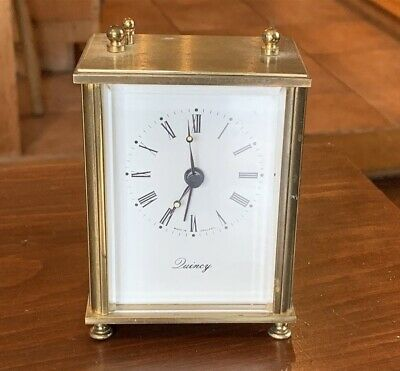 Vintage Brass & Glass Carriage Clock by Quincy, England - Battery Movement