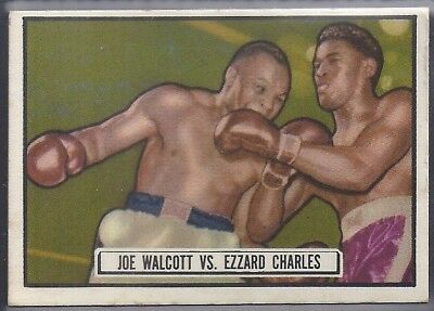Topps-Ringside 1951-#85- Boxing - Ezzard Charles Vs Jersey Joe Walcott