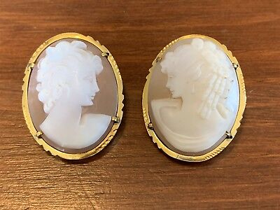Unusual Pair of Antique Victorian Cameos in Gold-Tone Settings