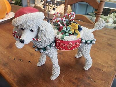 DANBURY MINT large CHRISTMAS POODLE w/ Candy Canes Figurine Statue Dog 10""