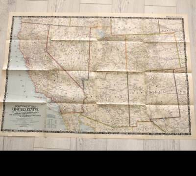 Vintage December 1948 National Geographic large fold out map South West USA