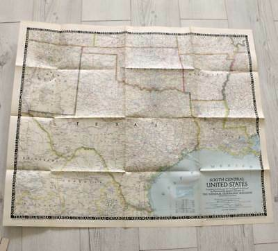 Vintage Dec 1947 National Geographic large fold out map South Central USA