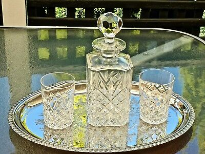 Vintage Hand Cut Whisky  Crystal Decanter 2 Glasses & Silver Plated Tray