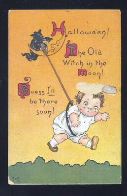 Antique Vintage Halloween Postcard 1914 Series No. 124 Witch Broom Girl