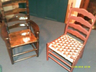 2 Ladder Back Wood Display  Doll Chairs One Has Arm Rest