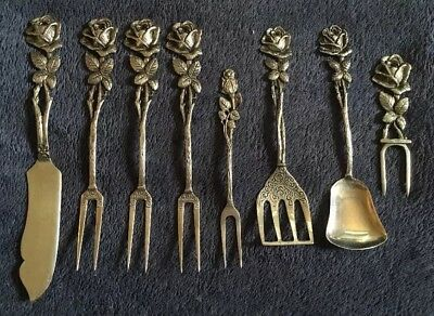 Vintage 800 Silver Rose Seafood Forks And Flatware