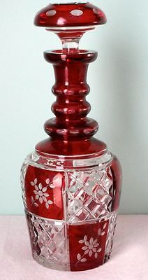 "Bohemian Ruby Red Cut to Clear Large 11.5"" Decanter early 1900s, Sold by Birks"