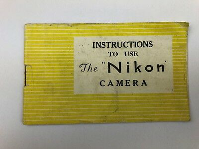 Nikon I Rangefinder Camera Tokyo Original Yellow Instruction Manual - Very Rare