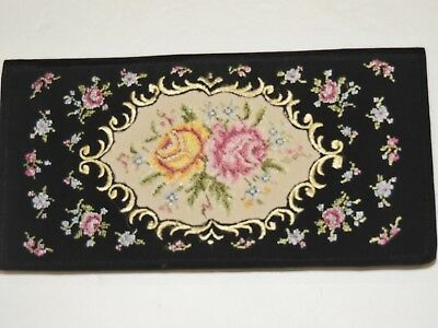 Vintage ca. 1950's Petite Point / Embroidered Clutch Purse - W. Germany