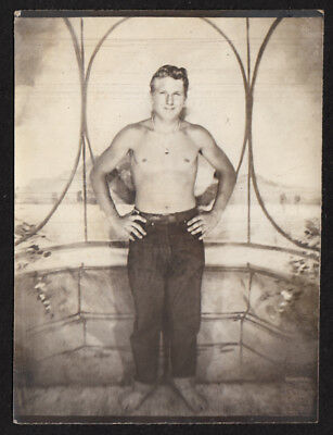 BAREFOOT & SHIRTLESS LEVIS JEANS MAN LOVES 2 GET NUDE~ 1940s VINTAGE PHOTO gay