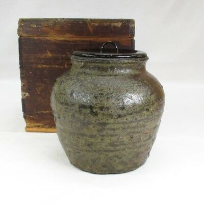 A036: Rare, real old Japanese BIZEN stoneware vase with wonderful atmosphere