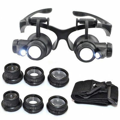 8 Lens Magnifier Magnifying Eye Glass Loupe Jeweler Watch Repair W/ LED Light