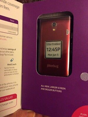 NIB Jitterbug Great Call Flip Easy-to-Use Cell Phone for Seniors Red BIG BUTTONS