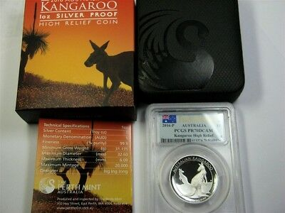 2016-P Australia KANGAROO High Relief PCGS PR70 First Strike, BOX +COA, Silver
