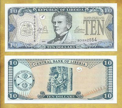 Liberia 10 Dollars 2003 Prefix BC P-27a Unc Currency Banknote ***USA SELLER***