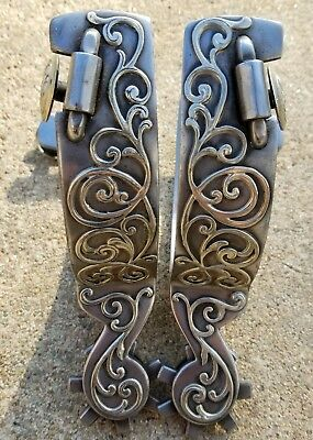 Handmade Silver Mounted Double Mount Spurs Marked by JAYSON JONES